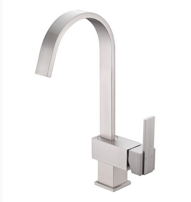 Buy Deck Mounted Single Handle Kitchen Faucet, Goose Neck Spout - Zen Tap Sinks - 1