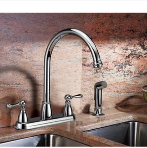 Buy Two Handle Centerset Kitchen Faucet with Side Spray - Zen Tap Sinks - 2