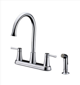 Buy Deck Mounted Two Lever Handle Kitchen Faucet with Side Spray - Zen Tap Sinks - 1