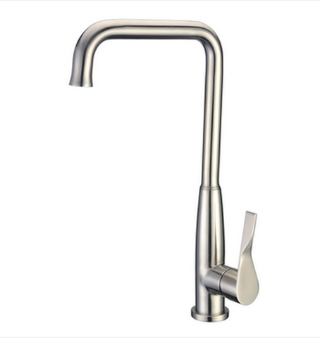 Buy Goose Neck Single Lever Kitchen Faucet Brushed Stainless Steel - Zen Tap Sinks - 1