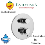 "LaToscana Elba Thermostatic Valve with 3/4"" Ceramic Disc Volume Control"