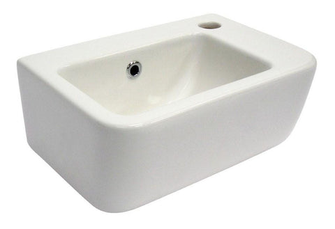 Buy ALFI brand AB101 Small White Wall Mounted Ceramic Bathroom Sink - Zen Tap Sinks - 3
