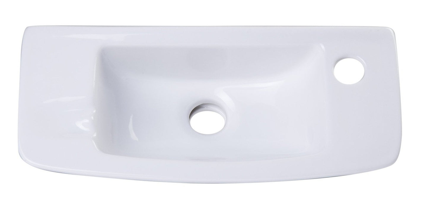 Buy ALFI brand AB103 Small White Porcelain Wall Mount Bathroom Sink Basin - Zen Tap Sinks - 7