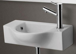 Buy Alfi Brand AB105 Small Porcelain Wall Mount Basin - Zen Tap Sinks - 1