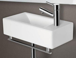 Buy Online Alfi Brand AB108 Small Rectangle Porcelain Wall Mount Basin - Zen Tap Sinks - 1