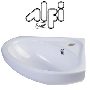 "Alfi Brand AB109 - 18"" White Corner Porcelain Wall Mounted Bath Sink"