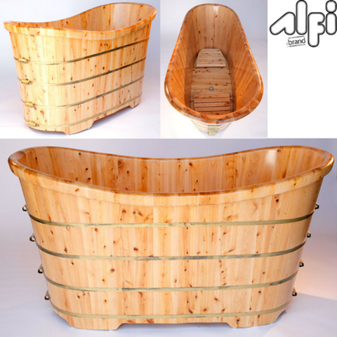 Buy ALFI brand AB1105 63'' Free Standing Solid Cedar Wooden Bathroom Tub