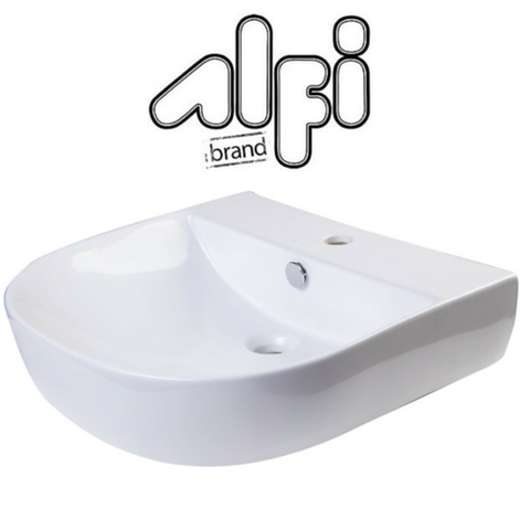 "Alfi Brand AB110 - 20"" White D-Bowl Porcelain Wall Mounted Bath Sink"