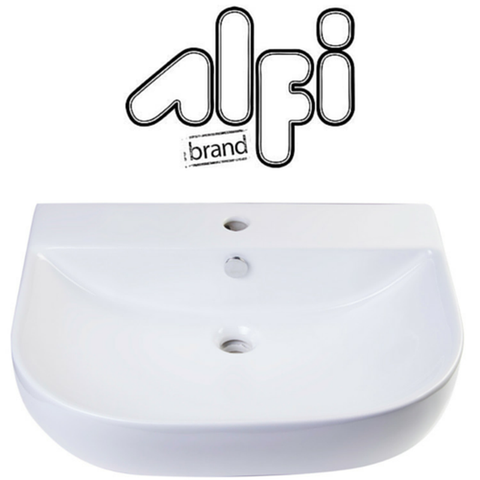 "Alfi Brand AB111 - 24"" White D-Bowl Porcelain Wall Mounted Bath Sink"
