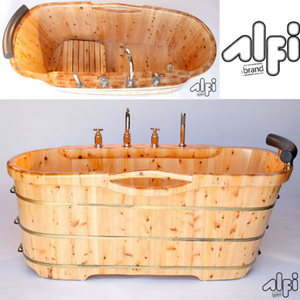 ALFI brand AB1136 61'' Free Standing Cedar Wooden Bathtub with Tub Filler