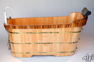 ALFI brand AB1148 59'' Free Standing Oak Wooden Bathtub with Tub Filler - Zen Tap Sinks - 1