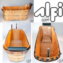 Buy ALFI brand AB1148 59'' Free Standing Oak Wooden Bathtub with Tub Filler