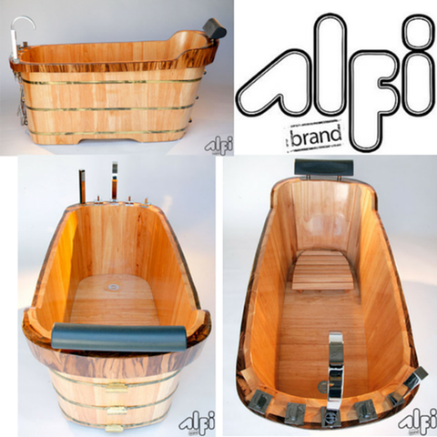ALFI brand AB1148 59'' Free Standing Oak Wooden Bathtub with Tub Filler