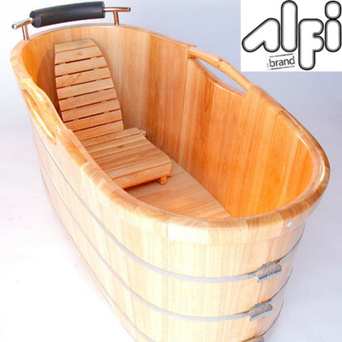Buy ALFI brand AB1163 61'' Free Standing Oak Wooden Bathroom Tub with Headrest