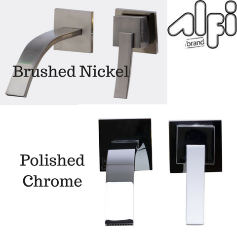 May-Alfi Brand AB1256 Single Lever Wallmount Bathroom Faucet Polished & Brushed