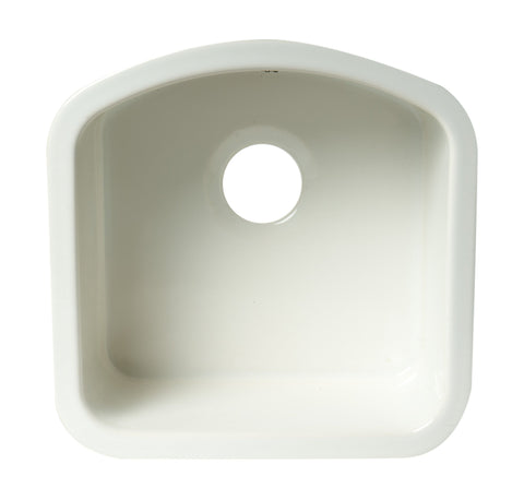 ALFI brand AB1818C 17 Inch White Fireclay Undermount D-Shaped Kitchen Sink