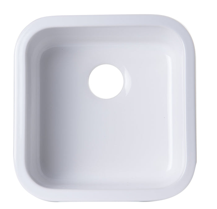 ALFI brand AB1818S Square Fireclay Undermount or Drop In Prep / Bar Sink