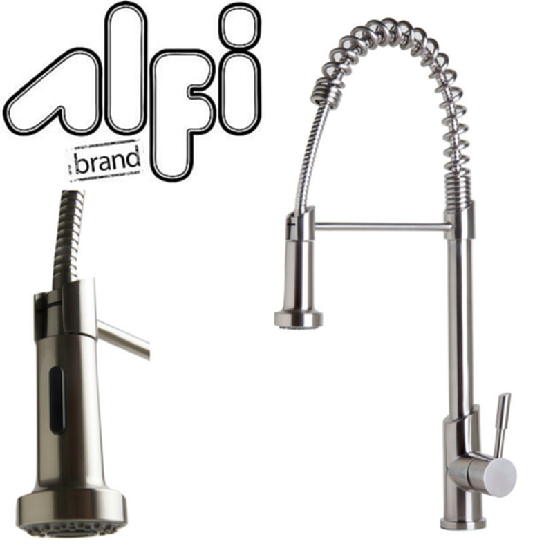 Alfi Brand AB2013 Solid Stainless Steel Commercial Spring Kitchen Faucet