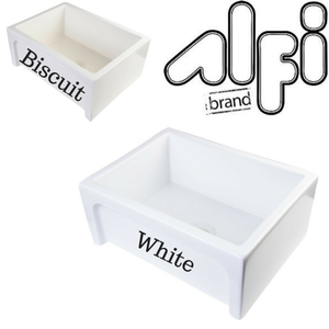 "Alfi Brand AB2418ARCH - 24"" Arched Apron Thick Wall Fireclay Single Bowl Farm Sink"