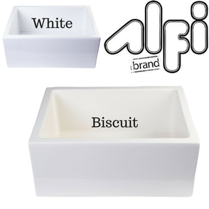 "Alfi Brand AB2418SB - 24"" Biscuit Smooth Thick Wall Fireclay Single Bowl Farm Sink"