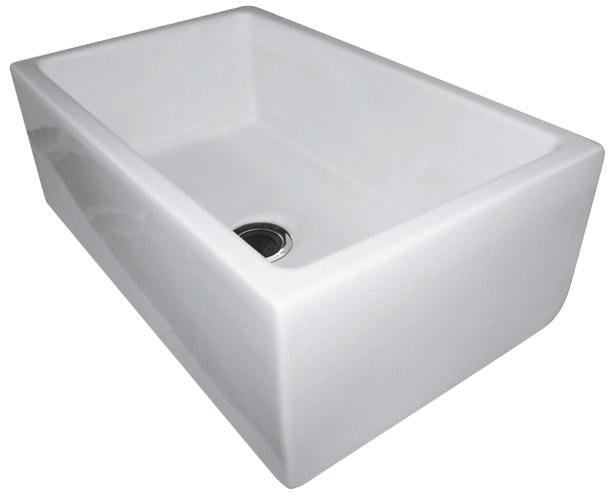 ALFI brand AB3018HS 30 Inch Reversible Smooth / Fluted Single Bowl Fireclay Farm Sink