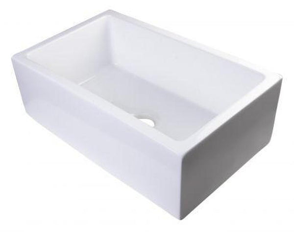 "Buy Alfi Brand AB3018SB - 30"" Smooth Solid Thick Wall Fireclay Single Bowl Farm Sink - Zen Tap Sinks - 1"