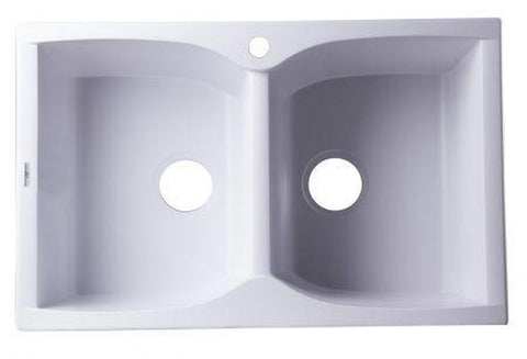 "Buy Alfi Brand AB3220DI - 32"" Drop-In Double Bowl Granite Composite Kitchen Sink - Zen Tap Sinks - 1"