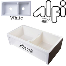 "Alfi Brand AB3618ARCH - 36"" Arched Apron Thick Wall Fireclay Double Bowl Farm Sink"