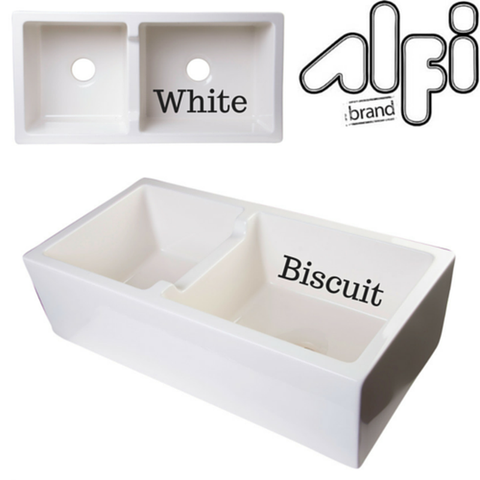 "Alfi Brand AB3618DB 36"" Smooth Thick Wall Fireclay Double Bowl Farm Sink"
