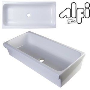 "Alfi Brand AB36TR - 36"" White Above Mount Porcelain Bath Trough Sink"