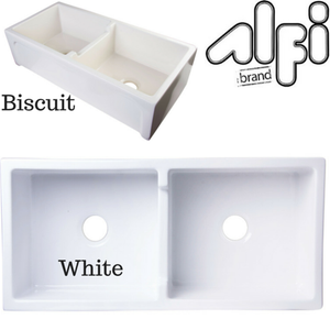 "Alfi Brand AB3918ARCH - 39"" Arched Apron Thick Wall Fireclay Double Bowl Farm Sink"