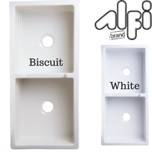 "Alfi Brand AB3918DB - 39"" Smooth Thick Wall Fireclay Double Bowl Farm Sink"