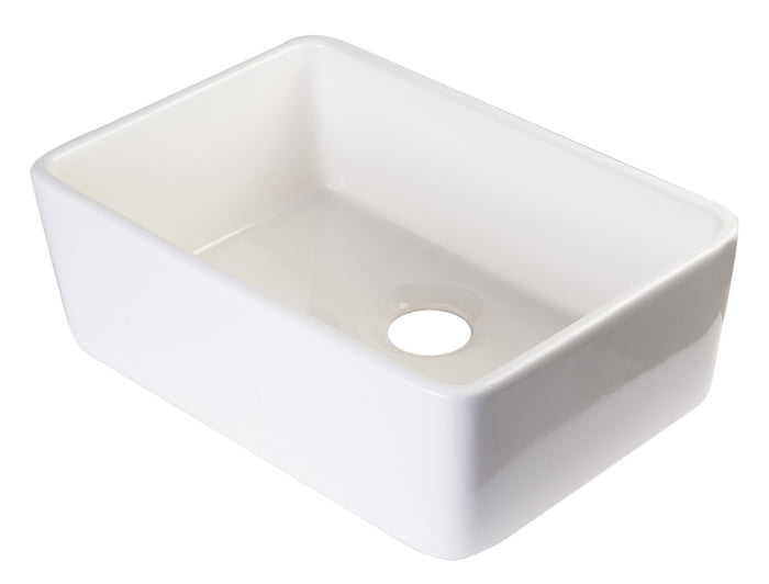 ALFI brand AB503UM 24 inch Single Bowl Fireclay Undermount Kitchen Sink