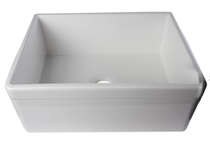 "ALFI brand AB506 26"" Decorative Lip Single Bowl Fireclay Farmhouse Kitchen - Zen Tap Sinks - 1"