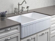 "ALFI brand AB537 32"" Fluted Double Bowl Fireclay Farmhouse Kitchen Sink - Zen Tap Sinks - 5"