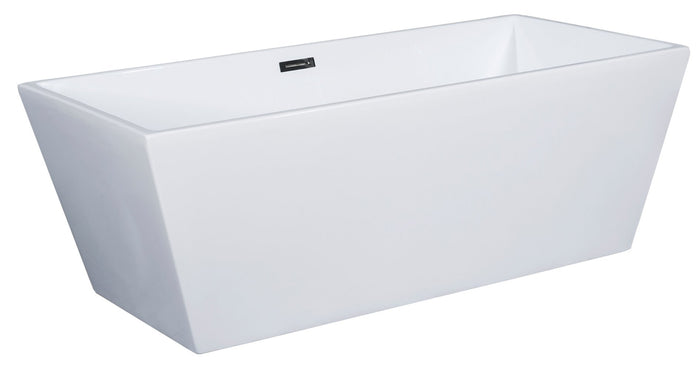 59 inch White Rectangular Acrylic Free Standing Soaking Bathtub