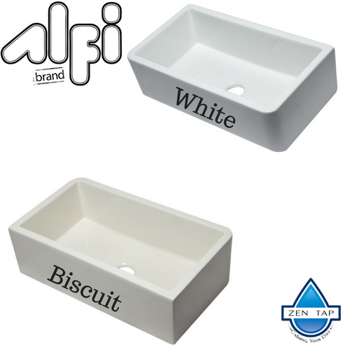 ALFI brand 33 Inch Smooth Solid Thick Wall REVERSIBLE Fireclay Single Bowl Farm Sink