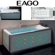 EAGO AM151 6' Modern Whirlpool Bath Tub With Colored Light Up Glass Panel w/ Left or Right Drain