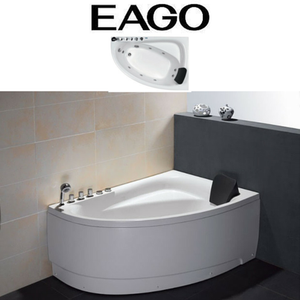 EAGO AM161-L / AM161-R - 5' Single Person Corner White Acrylic Whirlpool Bath Tub - Drain on Left or Right