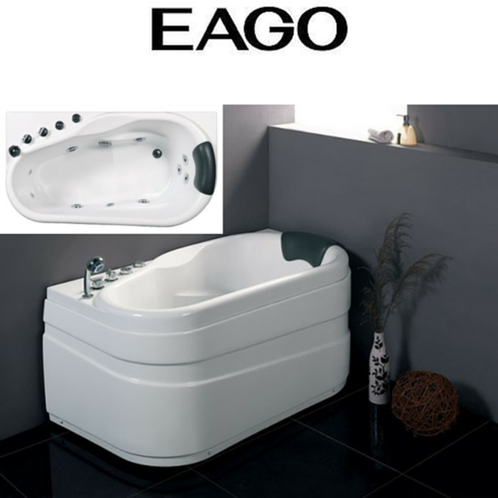 EAGO AM175-R/ AM175-L - 5'' White Acrylic Corner Whirpool Bathtub - Drain on Right or Left