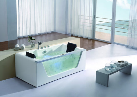 Buy EAGO AM196 & AM196HO 6' Clear Rectangular Whirlpool Bath Tub for Two with Fixtures
