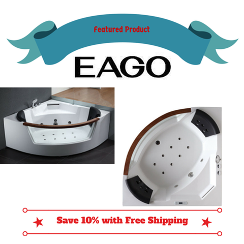 Buy EAGO AM197 5' Rounded Clear Modern Corner Whirlpool Bath Tub with Fixtures - Zen Tap Sinks - 1