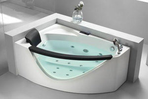 Buy EAGO AM198-L / AM198-R 5' Right Drain Rounded Clear Modern Corner Whirlpool Bath Tub with Fixtures - Zen Tap Sinks - 2