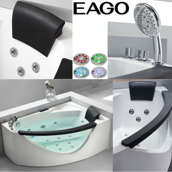 EAGO AM198-L / AM198-R 5' Right Drain Rounded Clear Modern Corner Whirlpool Bath Tub with Fixtures