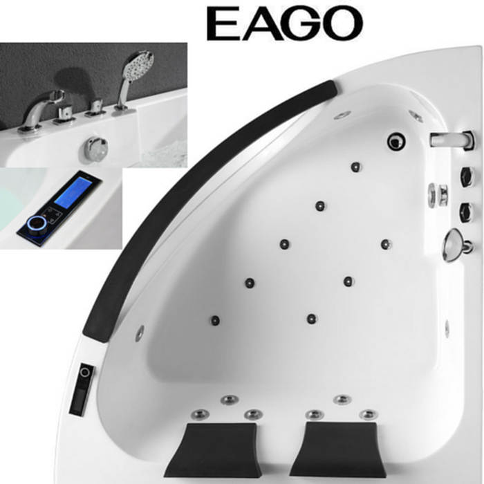 EAGO AM199 / AM199HO 5' Rounded Clear Modern Double Seat Corner Whirlpool Bath Tub with Fixtures w/o Inline Heater