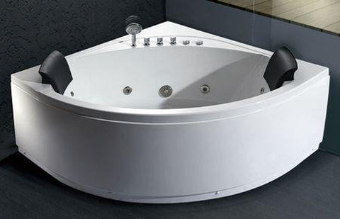 Buy EAGO AM200 5' Rounded Modern Double Seat Corner Whirlpool Bath Tub with Fixtures - Zen Tap Sinks - 2