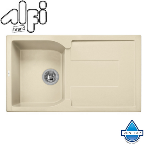 "ALFI brand AB1620DI 34"" Single Bowl Granite Composite Kitchen Sink with Drainboard"