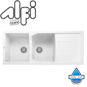 "ALFI brand AB4620DI 46"" Double Bowl Granite Composite Kitchen Sink with Drainboard"