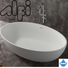 "ALFI brand AB9941 67"" White Oval Solid Surface Smooth Resin Soaking Bathtub"