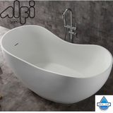 "ALFI brand AB9949 66"" White Solid Surface Smooth Resin Soaking Bathtub"